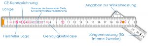 Kennzeichnungen auf Meterstäbe