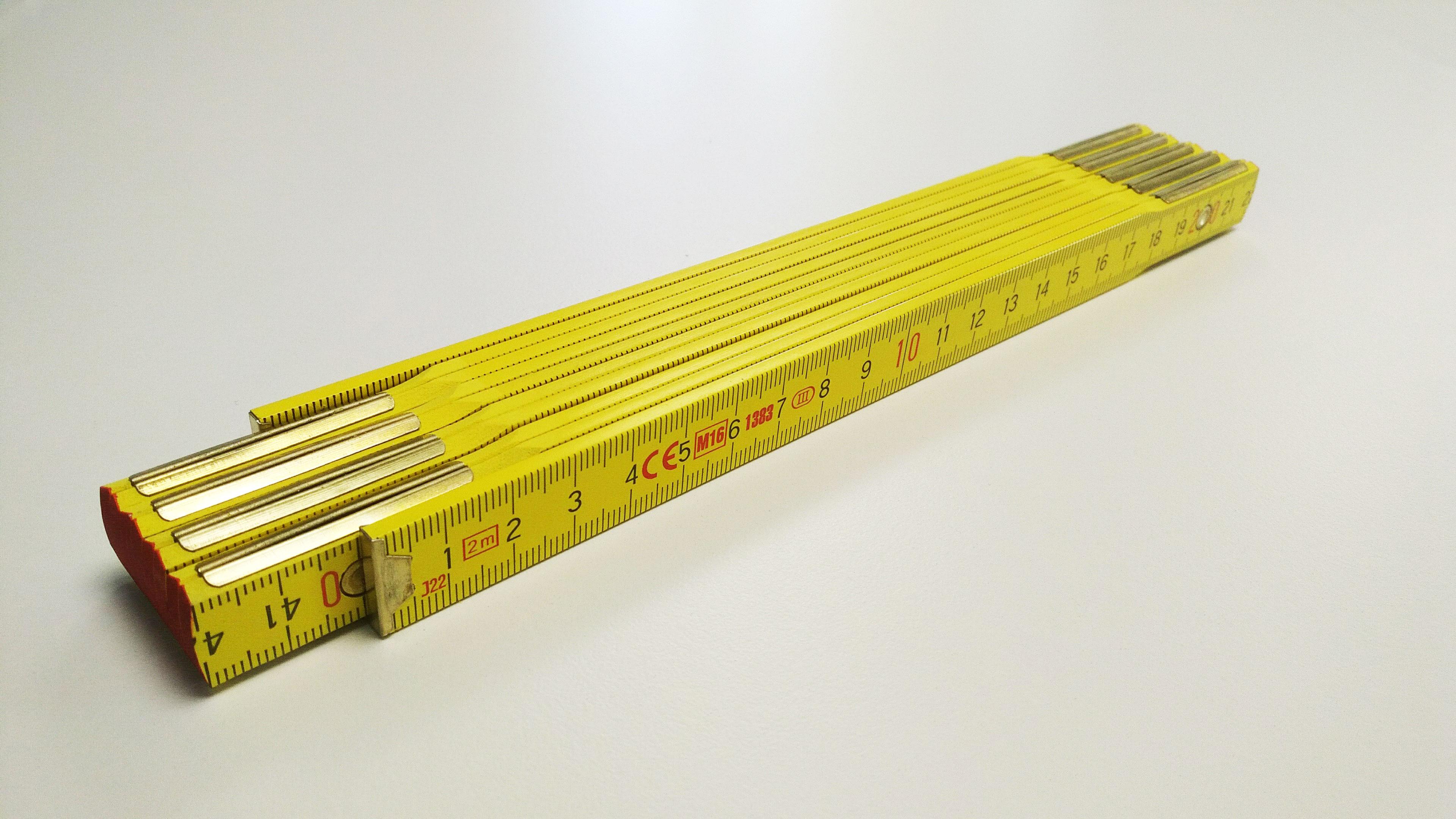 Premium-Zollstock aussenliegende-Metallgelenke Grundfarbe Gelb