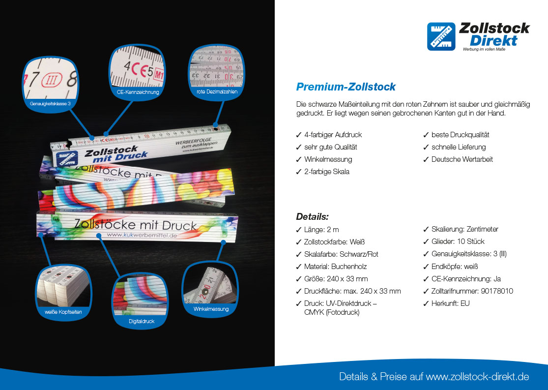 2 Seiten Infos Zollstock